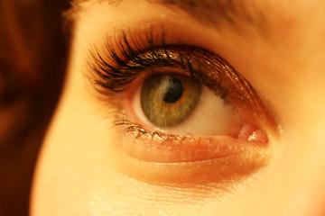 close up of a womanõs green eye makeup