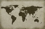 grungy textured world map poster