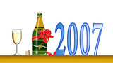 new years celebration wine bottle and glass poster