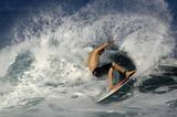 surfer spraying water poster