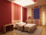 3d bedroom rendering poster