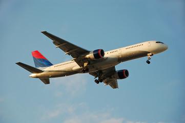 modern passenger jet arriving at destination