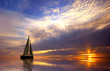 canvas print picture - sailing and sunset