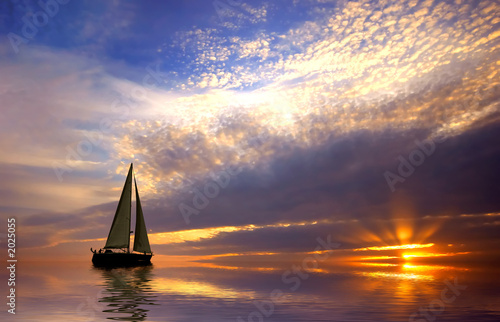 canvas print picture sailing and sunset