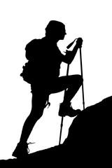 female climbing a cliff