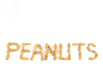 peanuts written on white background