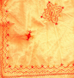 bended fragment of fabric with flower detail poster