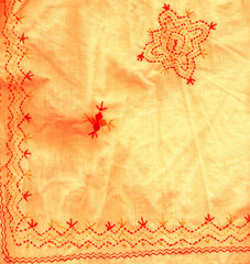 bended fragment of fabric with flower detail