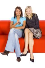 female friends watching tv