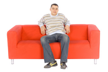 man on the red sofa