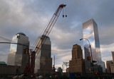 the first two steel beams for the freedom tower ro poster