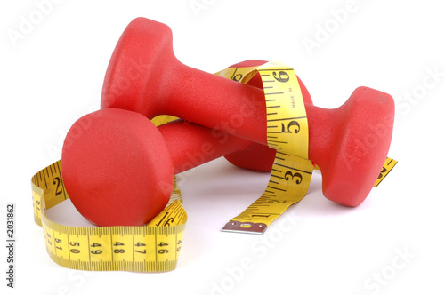 red weight with tape