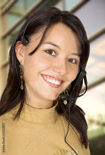 customer support girl in an office
