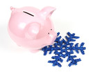 piggy bank and snowflake - heating cost poster