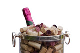 champagne, corks, bucket poster
