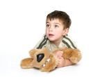 child holding a plush toy poster