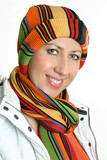vibrant woman dressed for winter poster