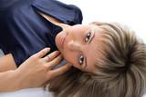 portrait pretty blond girl lie poster