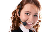 young beautiful girl operator poster