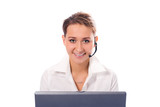 young beautiful girl operator with laptop poster