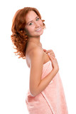 young beautiful girl in towel after shower poster