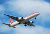 modern passenger jet flying overhead poster