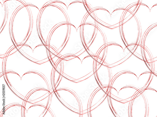 sketched hearts on white