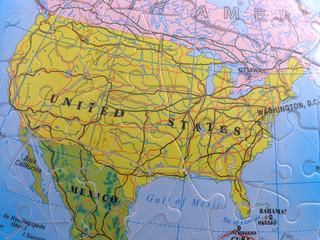 globe map puzzle - north america