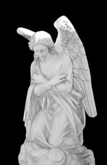 marble angel isolated on black