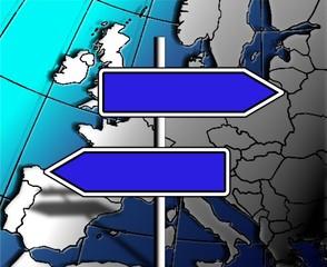 panneaux vierges sur carte europe