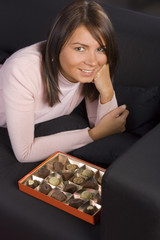 young woman with box of chocolates