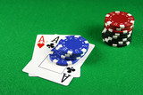 poker - a pair of aces with poker chips 3 poster