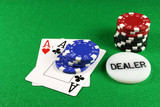 poker - a pair of aces with poker chips 4 poster