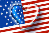american flag with heart poster
