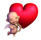 cartoon cupid with heart poster