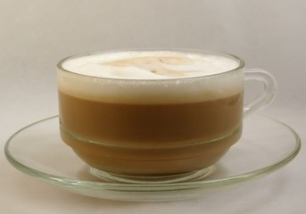 cappuccino in glass cup