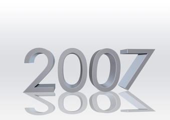 2007 silver text with sharp seven