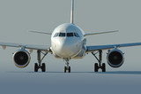 commercial airliner taxiing at the airport poster