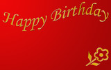 happy birthday red and gold poster