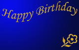 happy birthday in gold and blue poster