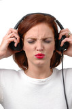 woman with headphones listening loud to music poster