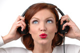 woman with headphones poster