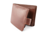 brown leather wallet on white poster