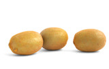 three vivid kiwi fruits on white poster