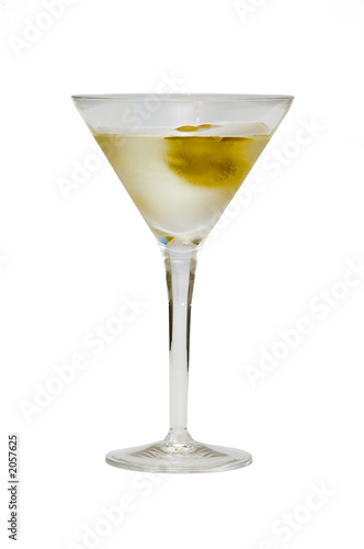 glass with martini and olives