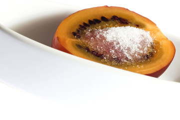 tropical fruit tamarillo with sugar