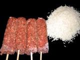 rice & frozen meat/kebab.preparing food for cookin poster