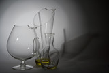 glass decanters in spot light