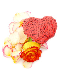 valentine's day card - red heart end roses - ilove you!