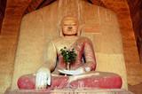 myanmar, bagan: statue in dhammayangyi temple poster